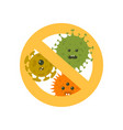 stop microbes cartoon vector image vector image