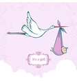 Stork with baby-girl vector image vector image