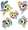 Stylized soccer balls with ribbons vector image