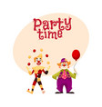 two cheerful clown on a holiday vector image vector image