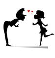 Two lovers silhouette vector image vector image