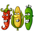 vegetable set pepper corn cucumber vector image
