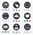 Web mobile devices icons Share mail signs vector image vector image