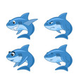 shark comic cartoon set vector image
