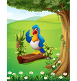 A parrot above the trunk under the tree vector image vector image