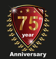 anniversary 75th label with ribbon vector image vector image