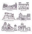 architecture castle and fort buildings medieval vector image