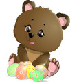 beautiful easter bear vector image vector image