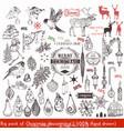 big christmas hand drawn elements set xmas vector image