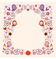 birds and flowers border frame vector image vector image