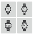 black wristwatch icons set vector image