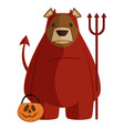 brown bear in red devil halloween costume vector image vector image