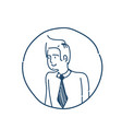 businessman avatar portrait business man sketch vector image