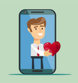 businessman giving a red heart to a customer on vector image