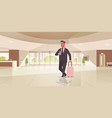 businessman with luggage modern reception area vector image vector image