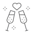champagne glasses thin line icon celebrating and vector image