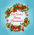 christmas garland frame for new year greeting card vector image