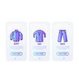 clothing thin line icons set jacket coat pants vector image