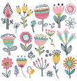 collection of fancy flowers scandinavian vector image