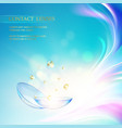 contact lens concept over blue background and two vector image
