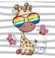 cool cartoon giraffe with sun glasses vector image