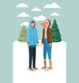 couple in snowscape with winter clothes vector image vector image