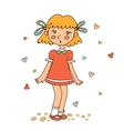 Cute little girl looking susrprised vector image vector image