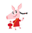 cute pig in chinese clothes isolated on white vector image vector image