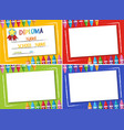 diploma and four different color background with vector image