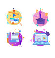 educational round icons on white background vector image