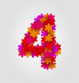 floral numbers colorful flowers number 4 vector image