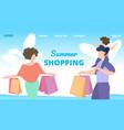 flyer invitation summer shopping cartoon flat vector image vector image