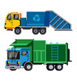 garbage truck trash vehicle transportation vector image vector image