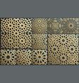 gold ornament on black islamic pattern set vector image