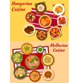 Hungarian and moldavian cuisine dishes icon vector image vector image