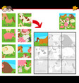 jigsaw puzzles with farm animals vector image vector image