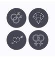 Love heart diamond and lesbian love icons vector image