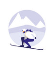 man practicing skiing on ice avatar character vector image