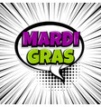 mardi gras comic text stripperd backdrop vector image vector image