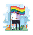 men couple with rainbow flag to community vector image vector image