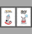 merry christmas postcard cat in hat and rabbit vector image