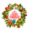 merry christmas wreath fir and gifts vector image