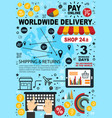 online shopping e-commerce pay and delivery vector image vector image