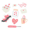 pack of love stickers with hearts vector image