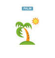 palm tree and sun icon vector image vector image