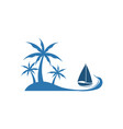 palm tree beach view boat design vector image vector image