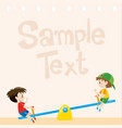 paper design with boys on seesaw vector image