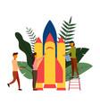people are building a spaceship rocket vector image