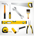Realistic carpenter tools icons collection vector image vector image
