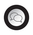 round black and white button - speech bubbles icon vector image